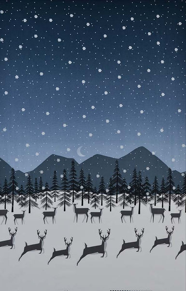 Winter Trails - Celestial panel with Deer