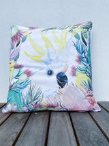 WHITE COCKATOO ART CUSHION COVER