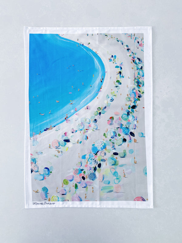 UMBRELLAS ON THE BEACH TEA TOWEL