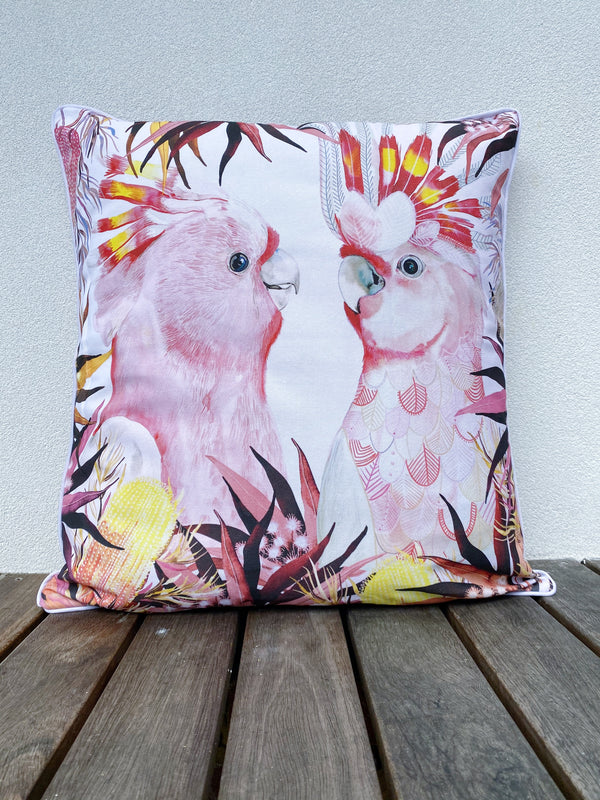 PINK BIRDS ART CUSHION  COVER