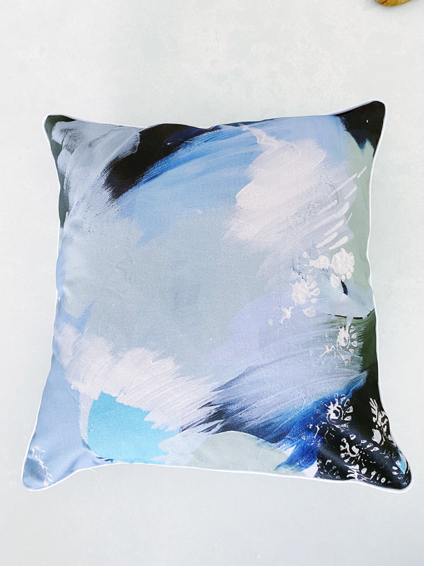 NAVY & SAGE BURST ART CUSHION COVER