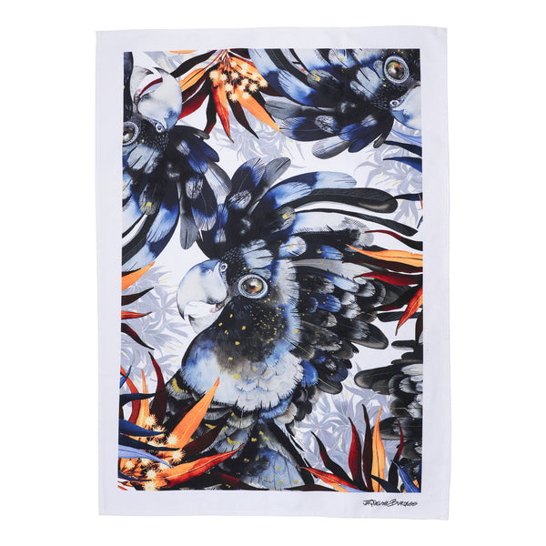 BLACK COCKATOO  TEA TOWEL