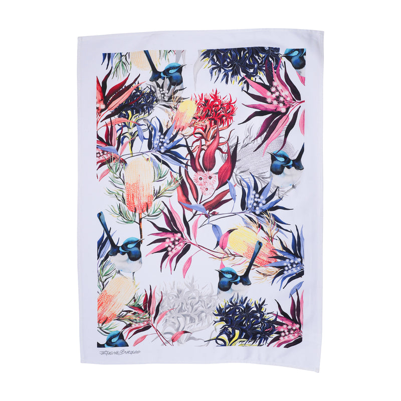 FAIRY WREN AND BANKSIA  TEA TOWEL