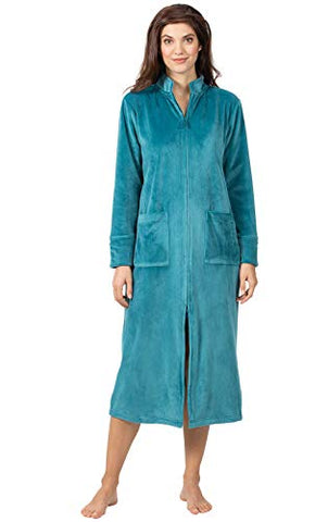 Addison Meadow Zip Up Robes for Women - Velvety Robes for Women Zipper Front