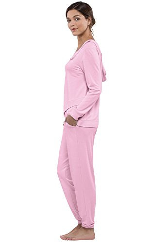 Addison Meadow Lightweight Hooded Womens Soft Pajama Set with Long Sleeves