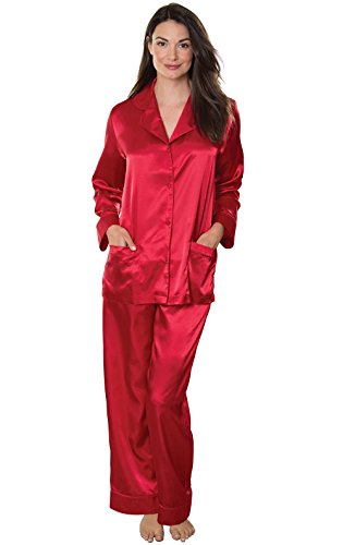 Addison Meadow Women's Satin Pajama Set with Button-up Top and Pajama Pants