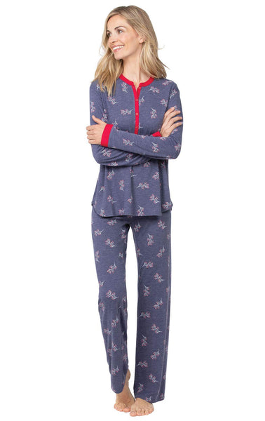 Addison Meadow Knit Womens Pajamas - Henley PJs for Women Set