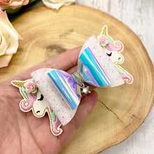 Unicorn top and tails Hair Clips, Unicorn Charm bow - Flutterbye Bowtique