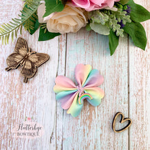 Pastel Rainbow Rosy Posy Hair Bow with Rainbow Charm