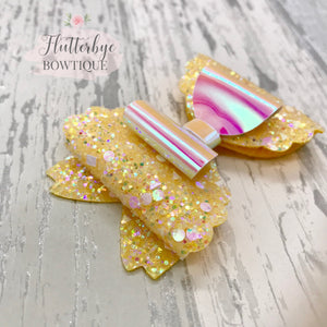 Iridescent Glitter and Mirror Scalloped Double Bow - Flutterbye Bowtique