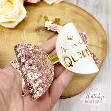 Personalised Mini Queen Set Hair Bow, Crown Bow - Flutterbye Bowtique