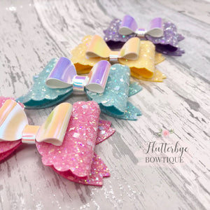 Iridescent Glitter and Mirror Fancy Double Bow - Flutterbye Bowtique