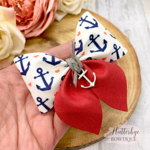 Nautical Party Pinch Hair Bow, Anchor charm Hair Bow