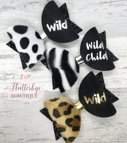 Wild Child Hair Bow, Faux Fur Hair Bow - Flutterbye Bowtique
