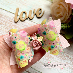 Candy Hearts Clay Hair Bow