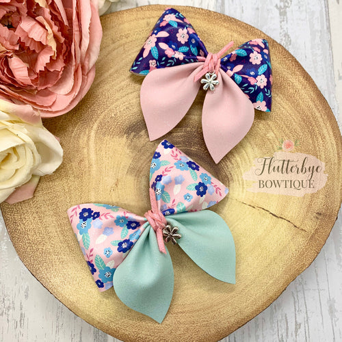 Spring Floral Party Pinch Hair Bow