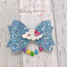 Blue Cute Rain Cloud Hair Bow - Flutterbye Bowtique
