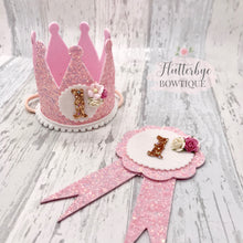Birthday Crown and Badge, Cake Smash Props - Flutterbye Bowtique