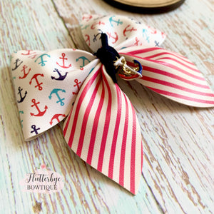 Anchors Away Hair Bow, Nautical Charm Hair Bow