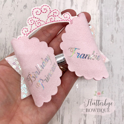 Birthday Princess Hair Bow, Birthday Crown - Flutterbye Bowtique