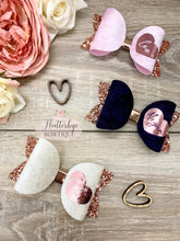 Velvet Personalised Heart Bow, Rose Gold Personalised Hair Clip