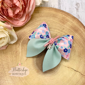 Spring Floral Party Pinch Hair Bow - Flutterbye Bowtique