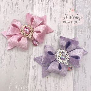 Droplet Bling Velvet Hair Bow - Flutterbye Bowtique