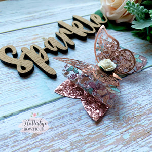 Rose Gold Butterfly Hair Bow