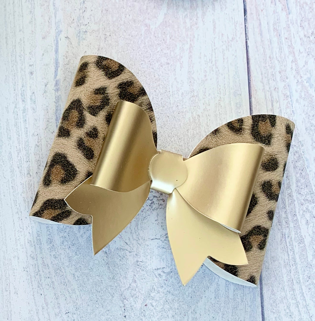 Leopard suede and brushed Mirror Double Bow