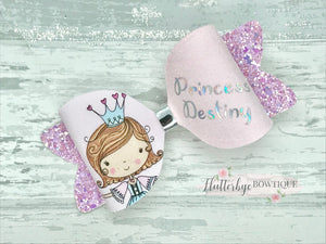 Personalised Princess Hair Bow - Flutterbye Bowtique