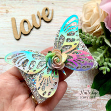 Holographic Butterfly Sparkle Hair Bow