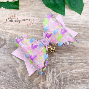 Pretty Dino Sparkle Glitter Hair Bow