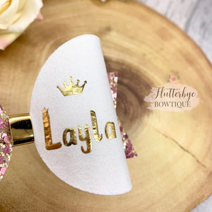 Personalised Mini Queen Set Hair Bow, Crown Bow