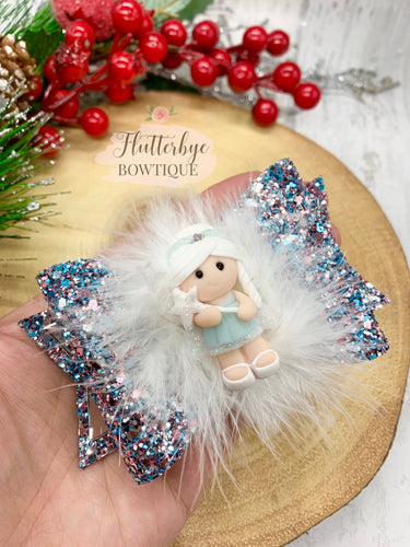 Snow Fairy Hair Bow with marabou feather trim - Flutterbye Bowtique