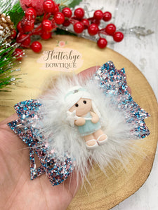 Snow Fairy Hair Bow with marabou feather trim