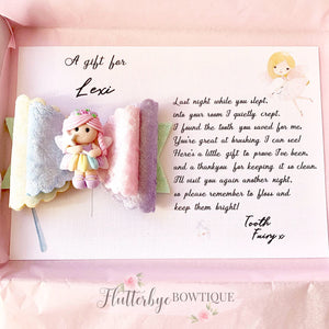 Tooth Fairy Hair Bow and card gift - Flutterbye Bowtique