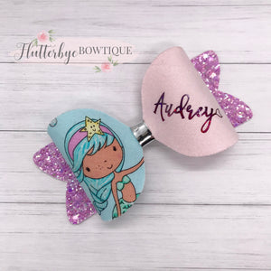 Personalised Mermaid Girl Hair Bow - Flutterbye Bowtique