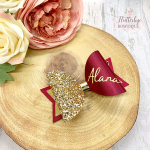 Personalised Burgundy Satin Bow, Gold Glitter Name Bow - Flutterbye Bowtique