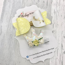 Personalised Bow and Crown Clip Set - Flutterbye Bowtique