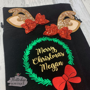 Personalised Holly Wreath Gift Bag - Flutterbye Bowtique