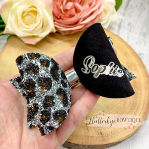 Silver Personalised Leopard Glitter Hair Bow
