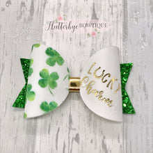 Lucky Charm Hair Bow, St Patrick's Day Hair Bow - Flutterbye Bowtique