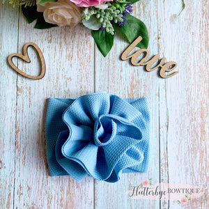Soft flower head wrap, stretchy baby headband