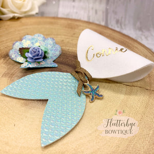 Personalised Mermaid Hair Bow and Shell clip set - Flutterbye Bowtique