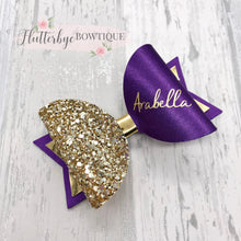 Personalised Cadbury Purple Satin Bow, Gold Glitter Name Bow - Flutterbye Bowtique