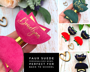 Faux Suede Personalised Hair Bow