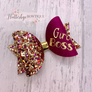 Autumn Girl Boss Bow, Mini Boss Hair Bow - Flutterbye Bowtique
