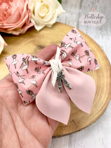 Ballerina Party Pinch Hair Bow, ballet shoes charm Hair Bow - Flutterbye Bowtique