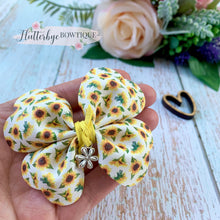 Sunflower Rosy Posy Hair Bow with Charm