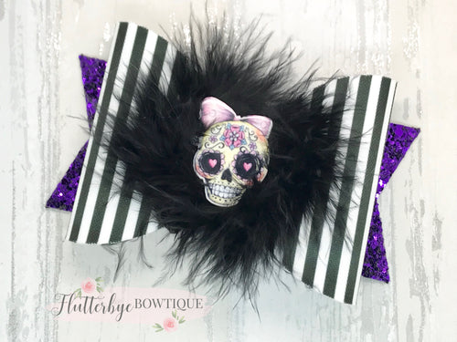 Candy Skull Hair Bow, Fur skull Bow - Flutterbye Bowtique
